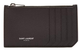 Saint Laurent Fragments Grained Leather Cardholder - Womens - Black