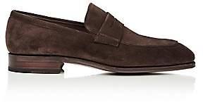 Carmina Shoemaker Men's Suede Penny Loafers-Dk. brown