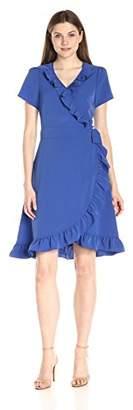 Lark & Ro Women's Short Sleeve Wrap Ruffle Dress