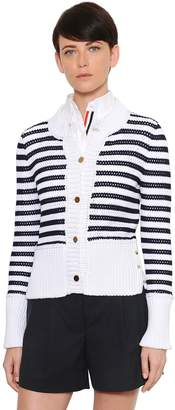 Thom Browne Striped Cotton Mesh Cardigan