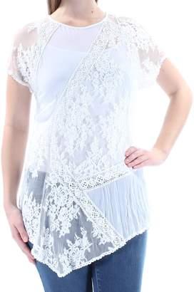 Karen Kane Womens Lace Panel Casual Top White M