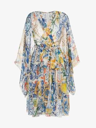 Dolce & Gabbana V-neck majolica print silk chiffon dress