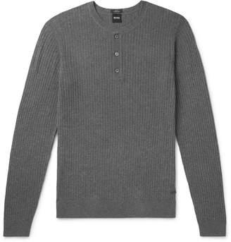 HUGO BOSS Slim-Fit Cotton and Wool-Blend Henley T-Shirt