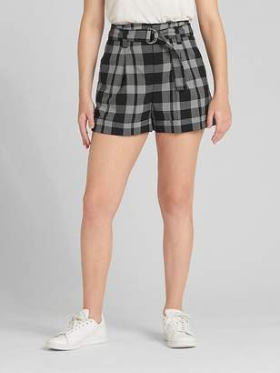 "Gap High Rise 3"" Plaid Shorts with Belt"