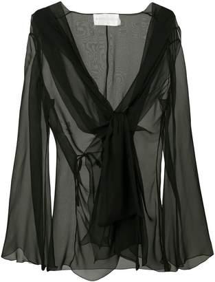 Alberta Ferretti semi-sheer draped front blouse