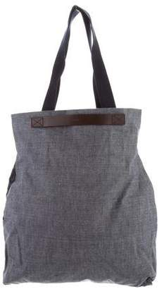 Mismo Leather-Trimmed Woven Tote w/ Tags