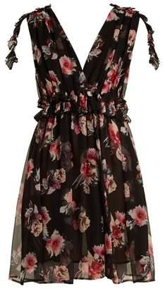 MSGM Silk Chiffon Floral Mini Dress - Womens - Black Multi