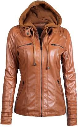 yulinge Womens Hooded Fake Two Piece Biker Faux Leather Jacket Plus Size XXL