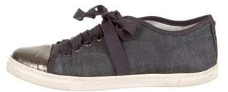 Lanvin Cap-Toe Denim Sneakers