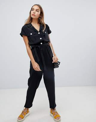 New Look Utility Button Through Jumpsuit