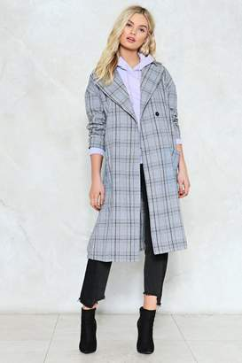 Nasty Gal Check Marks the Spot Longline Coat