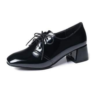 9e0fb20b942 GIY Women s Lace Up Oxford Loafer Shoes Patent Leather Square Toe Mid Heel  Brogues Dress Oxfords