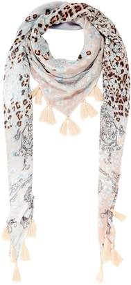 Oui Botanical leopard square tassel scarf