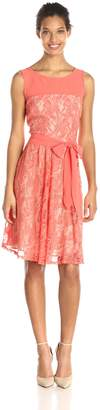 Julian Taylor Women's Sleeveless Illusion Lace Dress with Tie