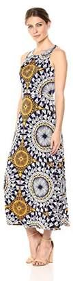 London Times Women's Sleeveless Pleat Neck Maxi Dress