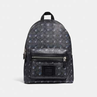 Coach Academy Backpack In Signature Canvas With Dot Diamond Print