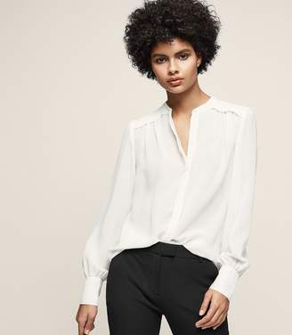 Reiss Eri - Puff-sleeve Blouse in Off White