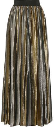 Alice + Olivia - Tabetha Pleated Silk-blend Lamé Maxi Skirt - Silver $860 thestylecure.com