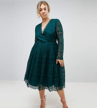 Asos Long Sleeve Lace Midi Prom Dress