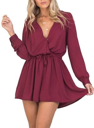 7742c023fe Subtle Flavor Women s Crossover Wrap-Front Long Sleeve Chiffon Jumpsuit  Playsuit Romper