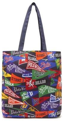 Polo Ralph Lauren Varsity Flag Print Cotton Canvas Tote Bag - Mens - Black
