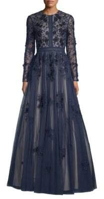Long-Sleeve Floral A-Line Gown
