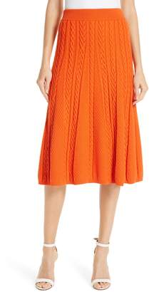 Kenzo Cable Knit Wool Blend Skirt