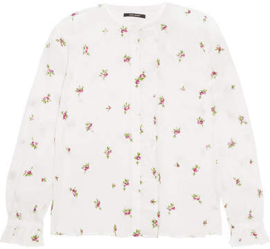 Isabel Marant - Uamos Ruffle-trimmed Embroidered Ramie Blouse - White