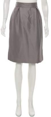 Valentino Silk Knee-Length Skirt Grey Silk Knee-Length Skirt
