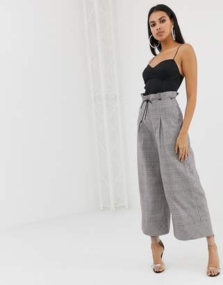 PrettyLittleThing wide leg belted pants in gray check