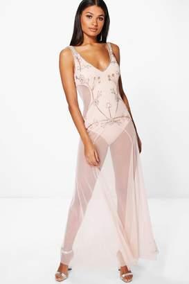 boohoo Boutique Rita Embellished Mesh Maxi Dress