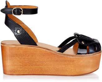 ISABEL MARANT Zelie wooden flatform sandals $485 thestylecure.com