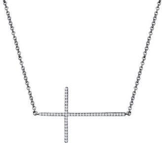 Lafonn Black Rhodium Plated Sterling Silver Pave Simulated Diamond Sideways Cross Pendant Necklace