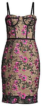Milly Women's Floral Embroidered Bustier Sheath Dress - Size 0
