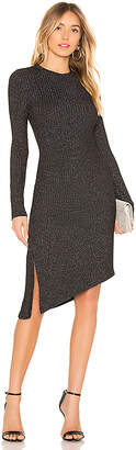 David Lerner Long Sleeve Asymmetrical Ruched Dress