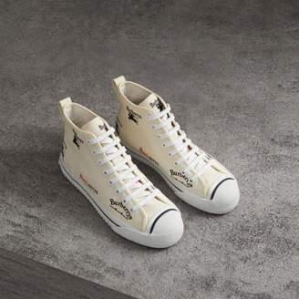 Burberry Archive Logo Cotton High-top Sneakers , Size: 40, White