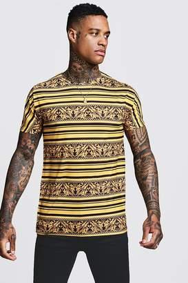 boohoo Gold Stripe Baroque T-Shirt