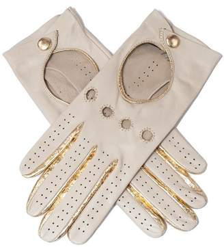Black Supersoft Cream and Gold Nappa Leather Driving Gloves
