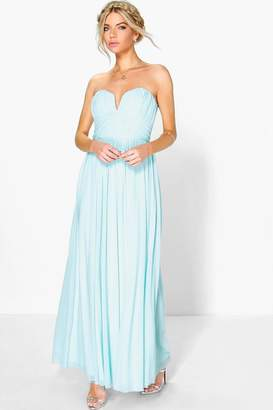 boohoo Boutique Mesh Rouched Plunge Maxi Dress