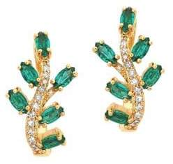 Lord & Taylor 14K Yellow Gold, Emerald, and Diamond Leaf Earrings