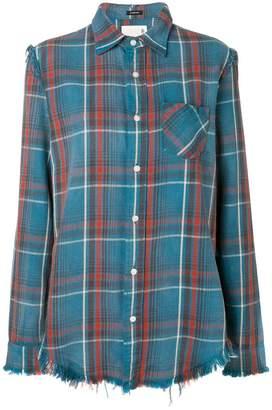 R 13 plaid frayed shirt