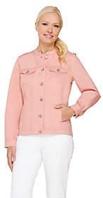 Denim & Co. Denim Jacket Mandarin Collar Hi-LowHem