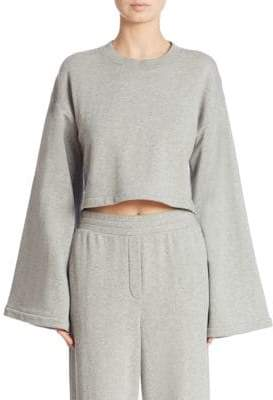 Alexander Wang Tie-Back Bell-Sleeve Cropped Sweatshirt