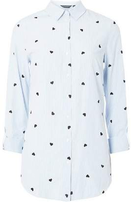 Dorothy Perkins Womens **Tall Blue Heart Embroidered Stripe Shirt