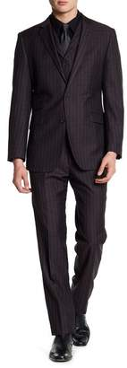 English Laundry Notch Lapel Plaid Print Trim Fit 3-Piece Suit