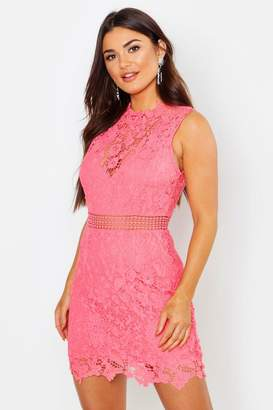 boohoo Lace Scallop High Neck Bodycon Dress