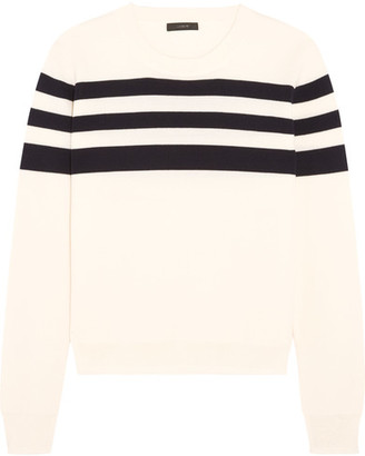 J.Crew - Liv Striped Merino Wool Sweater - Ivory $100 thestylecure.com