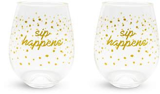 Vera Bradley Dots Stemless Wine Glasses, Set of 2