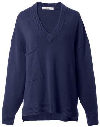 Tibi Cashmere Deep V-Neck Oversized Pullover in Navy