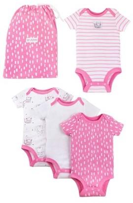 Lamaze Organic Cotton Graphic Bodysuits, 4pc Gift Bag Set (Baby Girls)